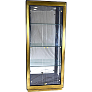 Mastercraft Mid-Century Brushed Brass & Black Lacquer Lighted Display Cabinet
