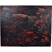 Large Vintage Modern Abstract Oil Painting with Emerging Form