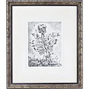 1960s Militarized Scarecrow Etching Levy Shlomo Artist's Proof Bulgarian Israeli Artist