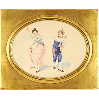 Late 19th Century Couple Dancing Watercolor Painting of Gypsy Folk Dancers