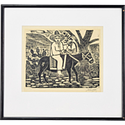 Vintage Woodblock Print Mexican Peasant Riding a Mule Signed Castillo