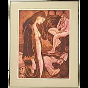 1970's Group Nude Women Color Lithograph Regina Kirschner-Rosenzweig San Francisco