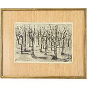 """""""Forest"""" 1962 Black & White Etching Abstracted Trees by Breen"""