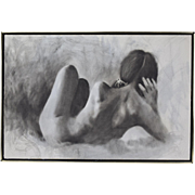 Vintage 1970's Black & White Oil Painting Reclining Nude Woman