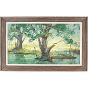 """""""Willows and Water"""" Midwestern Oil Painting Bob Digman Fox River Dupage County"""