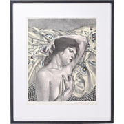 Martha Mayer Erlebacher 1984 L/E Lithograph Contemplative Nude Lying on Shawl
