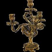 Vintage Louis XV Bronze Ornate Floral Leaf Motif 4-Light Candelabra Candlestick