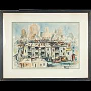Mid-Century Dilapidated Cityscape Painting American Israeli Artist Sol Baskin