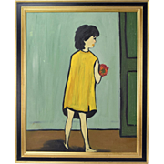 Vintage 1960's Naive Oil Painting Girl in Yellow Dress with Bouquet of Flowers