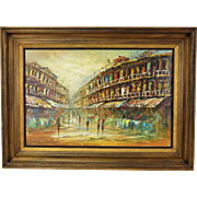 Vintage Mid-century Modern Abstract Street Scene Oil Painting Signed