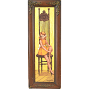 1960's Oil Painting Young Girl in Orange Dress on Surreal Chair Mansfield Chicago