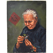 Vintage Chinese Oil Painting Portrait of Old Woman Arranging Flowers by Wong