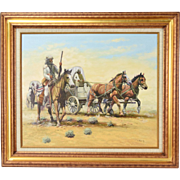 Vintage Western Painting Settlers Horse Drawn Covered Wagons Rifle Guard sgnd Quany