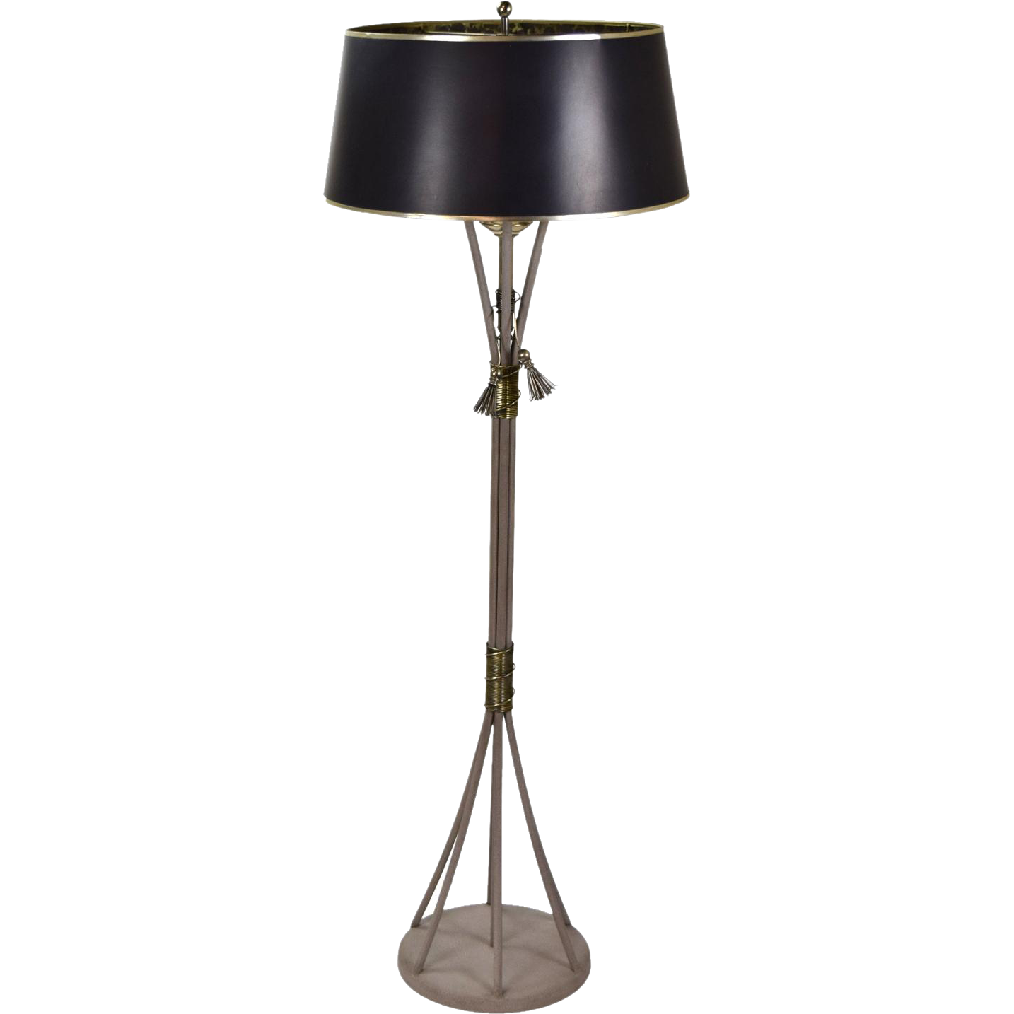 Vintage Hart Associates Floor Lamp Sheaf of Steel Rods with Nickel Finish Orb