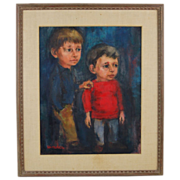 Mid-century Oil Painting Slightly Abstracted Little Boys Signed Hindes