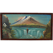 1926 Folk Art Painting Peak Near Yellowstone West Entrance sgnd Montgomery