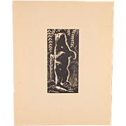 Depression Era Yellowstone Block Print Standing Bear by Charles Malcolm Campbell