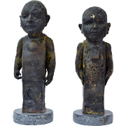 Vintage Pair of Figural Raku Pottery Sculptures Strange Little Men signed Chalat