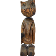 Large Vintage Mid-Century Modern Abstract Owl Sculpture Carved Wood