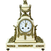 Tiffany & Co. Bronze & Marble Mantle Clock Cornucopia Design French Movement