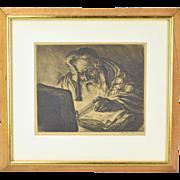 Gaston Gascard Jewish Rabbi Etching 1920's Judaica Pencil Signed