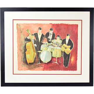 "Agostini Mid-Century Modern Lithograph ""L'orchestre"" Musical Quintet Signed"