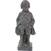 Circa 1910 Bronze Sculpture Boy in Winter Coat Hat with Ice Skates signed