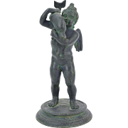 Vintage Grand Tour Pompeiian Bronze Sculpture Cupid Playfully Holding a Dolphin