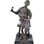 """Le Savetier"" after Theodore Riviere French Spelter Bronze Sculpture of Shoemaker"