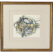 """Mid-Century Abstract Watercolor Painting """"Explosive Fragments - Shattered Systems"""""""