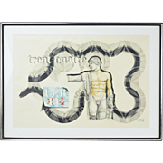 1980 Tucker Bobst Surrealist Watercolor Painting Nude Male