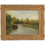 Petrus Paulus Schiedges Woman Walking by Canal Impressionist Dutch Oil Painting