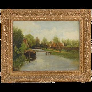 Petrus Paulus Schiedges Woman Walking by Canal Impressionist Dutch Oil Painting