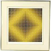 """Victor Vasarely """"Diaf Neg"""" Opart Screenprint Limited Edition Pencil Signed"""