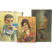 3 Vintage circa 1950's Oil Painting Portraits Young Women and Young Man