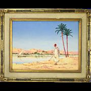 Orientalist Watercolor Algerian Red Hat Gold Earring at Water's Edge  Greig RBA