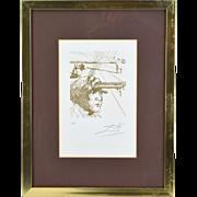 "1969 Salvador Dali Surrealist Etching ""Thomas Edison"" Signed Limited edition"