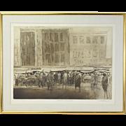 """1961 Harold Altman Etching """"Market Street II"""" signed Artist's Proof"""