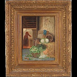 Dutch Painting Kitchen Scullery Maid Prepping Vegetables Johannes Engel Masurel
