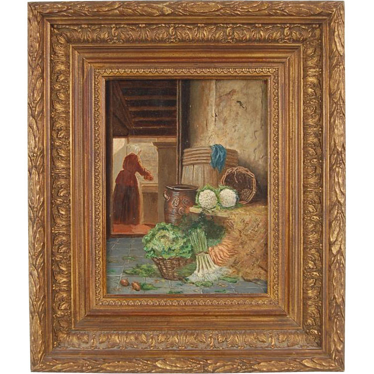 Dutch Painting Kitchen Scullery Maid Prepping Vegetables Johannes Engel Masurel
