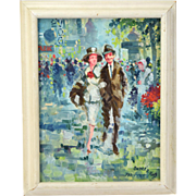 1964 Mid-Century Oil Painting Couple in Vintage Clothing Strolling in Paris signed