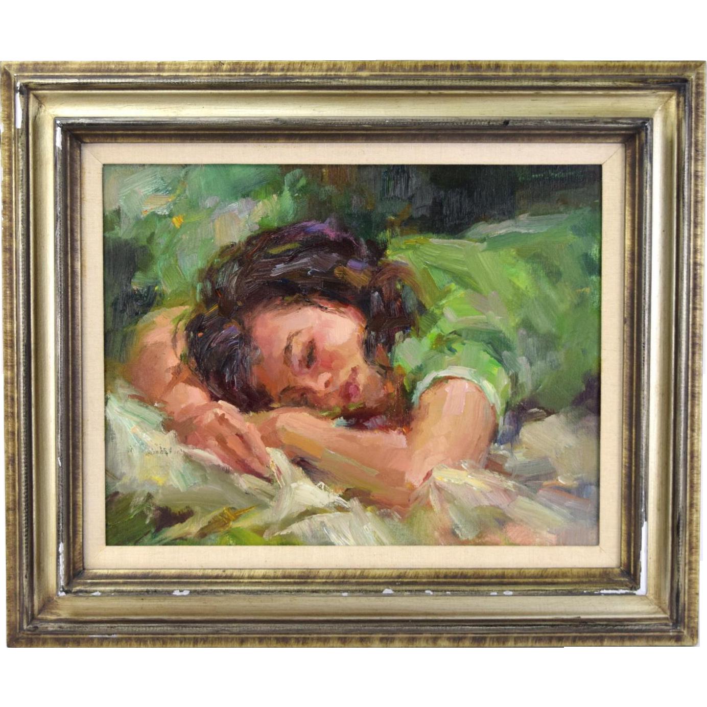 "Vintage Circa 1960 Ted Smuskiewicz ""Maria Sleeping"" Oil Painting"