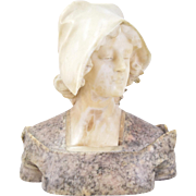 Late 19th Early 20th C.  Italian Marble Bust Beautiful Young Woman Wearing Cap