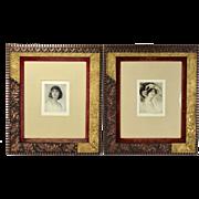 Pair Arthur Garratt Etchings Portrait Beautiful Women Aesthetic Movement Frames