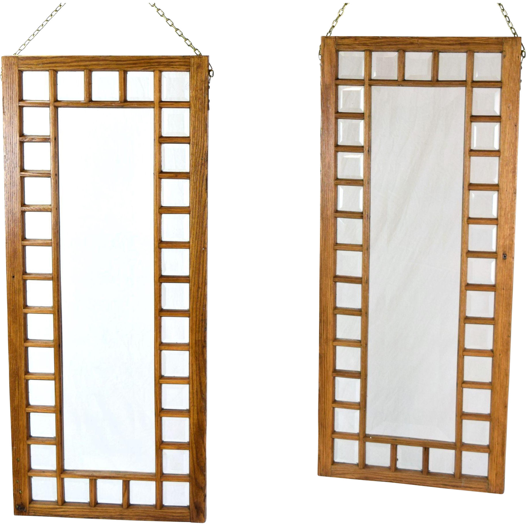 Pair Antique Oak Framed Beveled Glass Windows Hanging Room