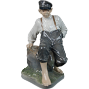 Large Royal Copenhagen Shepherd Boy on Rock 1659 Figurine Sgnd Christian Thomsen