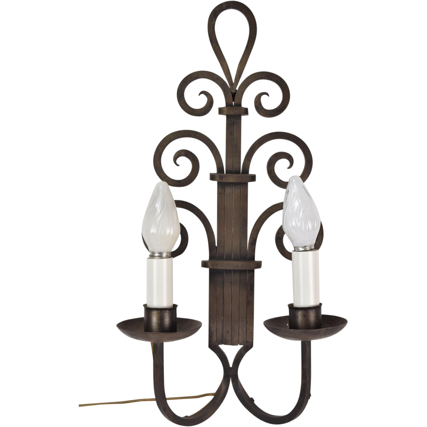 Large Wall Sconces Wrought Iron : Large 1930s Art Deco Gothic Wrought Iron Scroll Wall Sconce Light from colinreedantiques on Ruby ...