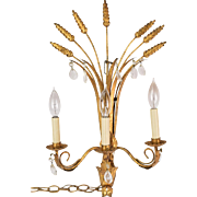 Mid-century Italian Gilt Metal & Crystal Sheaf of Wheat Wall Sconce Lamp