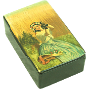 Hand Painted Russian Lacquer Box Beautiful Girl With Flowers
