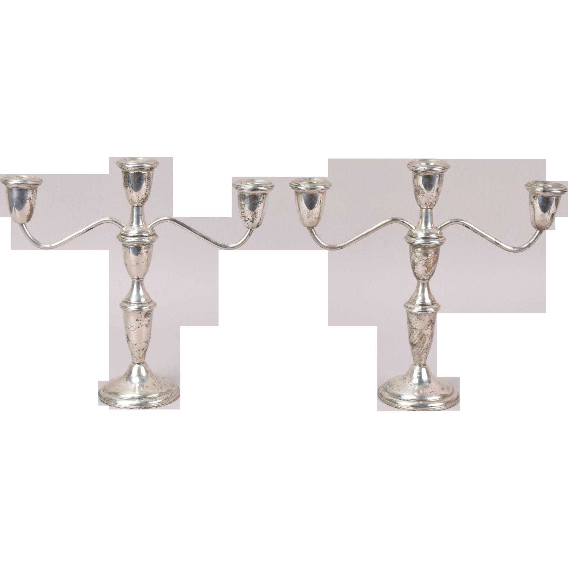 Pair Mid Century Empire Sterling Silver 3 Light Candelabra